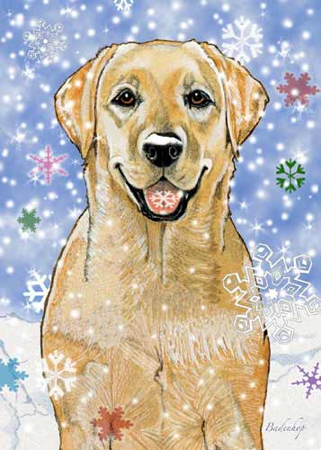 Yellow Labrador Christmas Cards Snowflakes