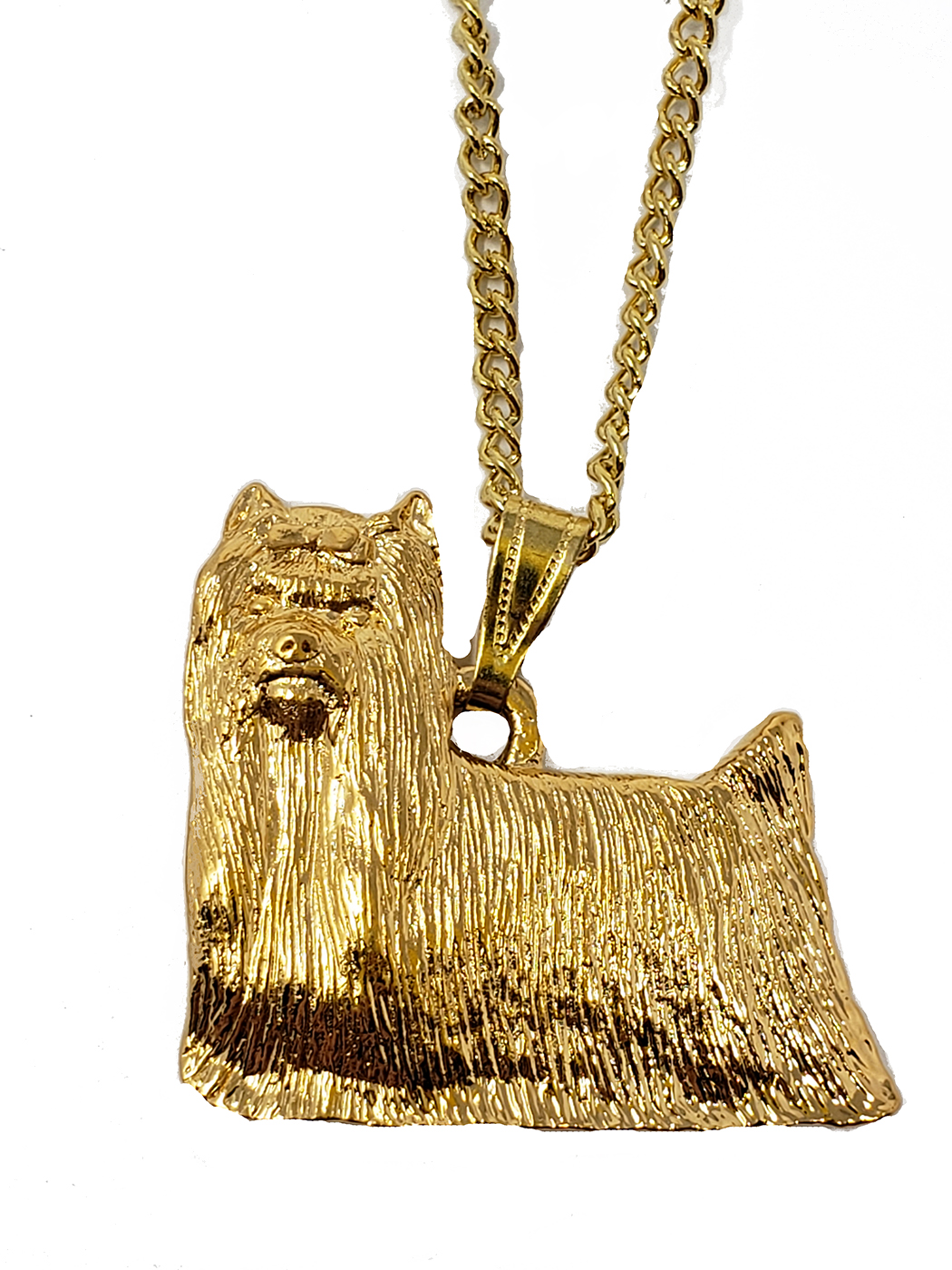 Yorkie 24K Gold Plated Pendant with Necklace