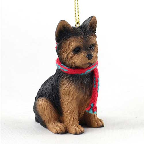 Yorkie Puppy Cut with Scarf Christmas Ornament Large Version
