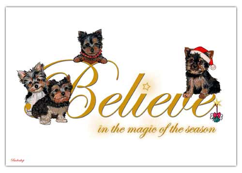 Yorkshire Terrier Christmas Cards Believe