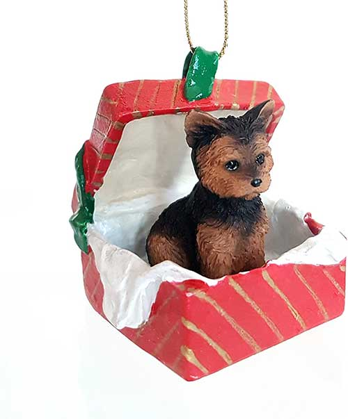 Yorkshire Terrier Gift Box Red Christmas Ornament