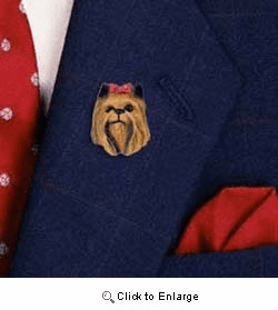 Yorkshire Terrier Pin Hand Painted Resin