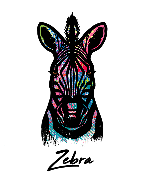 Zebra T Shirt Colorful Abstract