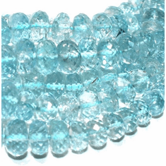 Aqua Faceted Roundel 6 mm to 7 mm