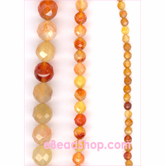 Carnelian Multi Faceted Round 4 mm