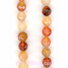 Carnelian Multi Faceted Round 8 mm