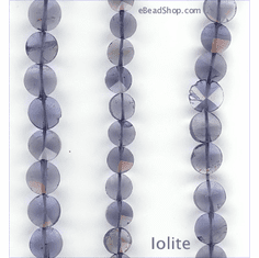 Iolite coin 5x8 mm to 8x8 mm
