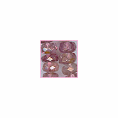 Pink Tourmaline Facetted Roundel 3 - 4mm