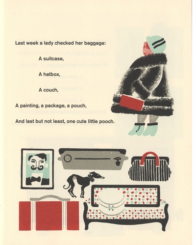 A suitcase, a hatbox, a couch, a painting, a package, a pouch: Baggage