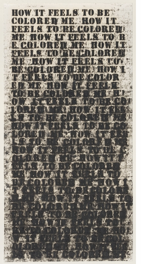 "Glenn Ligon, ""Untitled (How It Feels to be Colored Me)"" (1991) is reproduced from 'Among Others: Blackness at MoMA.'"