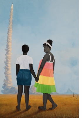 """Planes, rockets, and the spaces in between"" (2018) is reproduced from 'Amy Sherald.'"