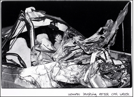 """""""Woman Laughing After Car Wreck"""" (1989) is reproduced from <I>Andrew Savulich: The City</I>."""