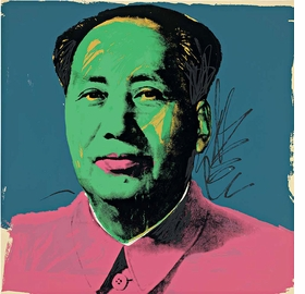 """""""Mao"""" screenprint, 1972, is reproduced from 'Andy Warhol: Prints.'"""
