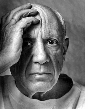 """""""Pablo Picasso, artist, Vallauris, France"""" (1964) is reproduced from """"Arnold Newman: One Hundred."""""""
