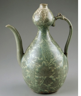 Featured image, a gourd-shaped ewer with inlaid grapevine from the Goryeo Period (13th century) is reproduced from <I>Arts of Korea</I>, alongside the descriptive text in the left sidebar.
