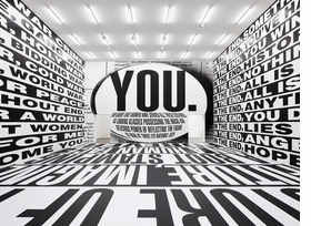 Barbara Kruger, Untitled (Forever), 2017. Installation view in Forever. © Sprüth Magers, Berlin, 2017–18.