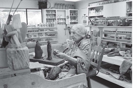 """Featured image—of dancer, actress, ceramicist and """"Mama of Dada""""—Beatrice Wood in her studio in 1987, is reproduced from <I>Beatrice Wood: Career Woman.</I>"""