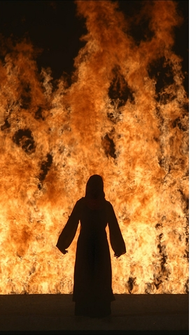 "Bill Viola, ""Fire Woman,"" 2005. Video/sound installation, projected image size 5.8 x 3.25 m. Performer: Robin Bonaccorsi. Courtesy Bill Viola Studio. Photo Kira Perov."