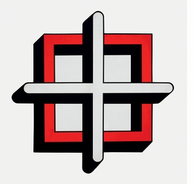 """Imre Bak, """"Square-Cross"""" (1979), is reproduced from 'Book Marks: Revisiting the Hungarian Art of the 1960s and 1970s.'"""