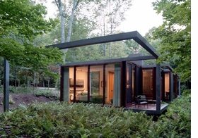 """Brad Cloepfil and his innovative firm, Allied Works Architecture, completed the guesthouse above, as well as a private residence, an """"art barn"""" and various outbuildings, on 350 acres of meadow and forest in Stanfordville, New York, in 2007."""