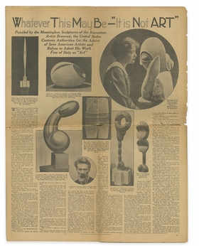 """""""Whatever This May Be&#8212;'It Is Not Art,'"""" <I>New York American</I>, March 13, 1927, is reproduced from 'Brancusi & Duchamp.'"""