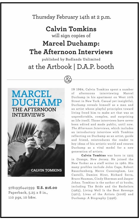 Calvin Tomkins to Sign 'Marcel Duchamp: The Afternoon Interviews' at the 2013 CAA Conference