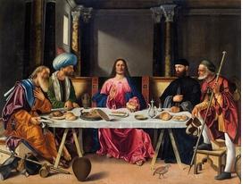 "Vittore Carpaccio (attr.), Supper at Emmaus, 1513. Oil on canvas, 107.5 x 140"". P"