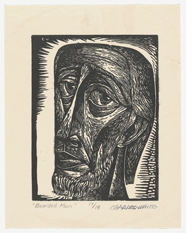 """""""Untitled (Bearded Man)"""" (c. 1949) is reproduced from 'Charles White: Black Pope.'"""
