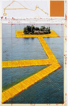 """Featured image is reproduced from 'Christo and Jeanne-Claude: Prints and Objects.' <br/> """"The Floating Piers, Project for Lake Iseo, Italy – San Paolo,"""" 2017. © The Estate of Christo V. Javacheff / VG Bild-Kunst, Bonn 2021 Photographer: Wolfgang Volz."""