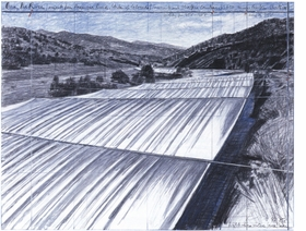 """""""Fabric panels suspended horizontally clear of and high above the water level will follow the configuration and width of the changing course of the river during a period of two consecutive weeks to be selected between mid-July and mid-August of any given year in the future, in 2012 at the earliest.""""<p>Jonathan Henry describes Christo and Jeanne-Claude's Mastaba River project in <a href=""""9788434311930.html"""">Christo & Jeanne-Claude: The Mastaba / Over the River</a>, from which this preparatory image is repdoduced."""