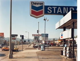 """Featured photograph, """"Beverly Boulevard and La Brea Avenue, Los Angeles, California, June 21, 1975,"""" by Stephen Shore, is reproduced from <I>Color Rush</I>."""