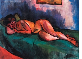 """""""Featured image, Géza Bornemisza's <i>Lying Female Nude</i>, 1913, is reproduced from <a href=""""9788836618729.html"""">Dialogue Among Fauves</a>."""