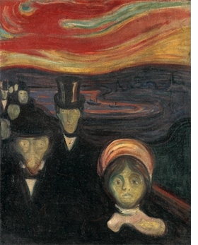 """""""Anxiety"""" (1894) is reproduced from <I>Edvard Munch: Archetypes</I>."""