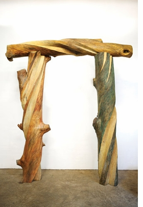 """""""Children's Arch"""" (1991), gum, 11.5 x 9 x 2.5 feet, is reproduced from <I>Emilie Brzezinksi: The Lure of the Forest</I>."""