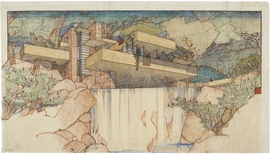 Perspective drawing of Fallingwater (Kaufmann House), Mill Run, Pennsylvania, 1934, is reproduced from 'Frank Lloyd Wright: Unpacking the Archive.'