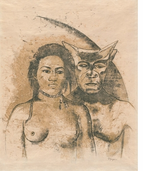 """""""Tahitian Woman with Evil Spirit,"""" recto. c. 1900, is reproduced from <I>Gauguin: Metamorphoses</I>."""