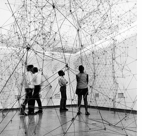 """Installation view of """"Reticulárea"""" at Museo de Bellas Artes, Caracas, 1969, is reproduced from <I>Gego: Line as Object</I>. Photograph is by Paolo Gasparini © Fundación Gego."""