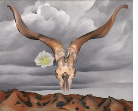 """""""Ram's Head, White Hollyhock-Hills"""" (""""Ram's Head and White Hollyhock, New Mexico""""), 1935, Oil on canvas. 76,2 x 91,4 cm Brooklyn Museum, Bequest of Edith and Milton Lowenthal@ Georgia O'Keeffe Museum."""