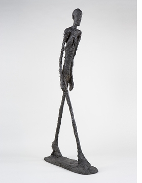"""""""Walking Man I"""" (1960) is reproduced from 'Giacometti.'"""