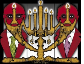 """Beardlight"" (2016) is reproduced from 'Gilbert & George: The Great Exhibition.'"