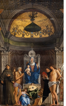 Giovanni Bellini, Virgin and Child enthroned with Saints and Angels (San Giobbe altarpiece), c. 1480.