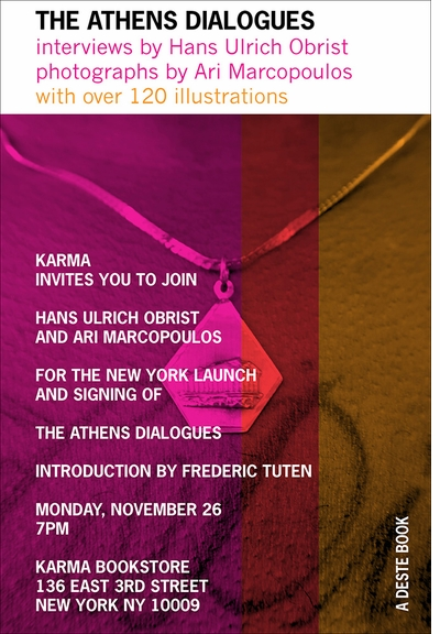 Hans Ulrich Obrist & Ari Marcopolous launch 'The Athens Dialogues' at Karma