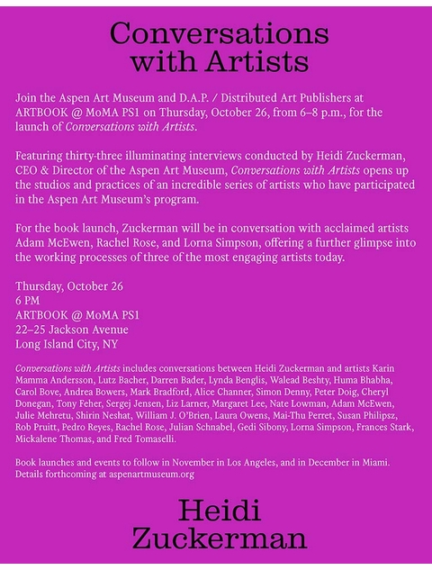 Heidi Zuckerman, Adam McEwen, Rachel Rose & Lorna Simpson launch 'Conversations with Artists' at Artbook @ MoMA PS1