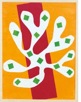 """""""White Alga on Orange and Red Background (Algue blanche sur fond orange et rouge)"""" (1947) is reproduced from <I>Henri Matisse: The Cut-Outs</I>."""