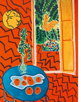 """(Red Interior, Still Life On A Blue Table"""" (1947) is reproduced from <i>Henri Matisse: The Oasis of Matisse</i>."""