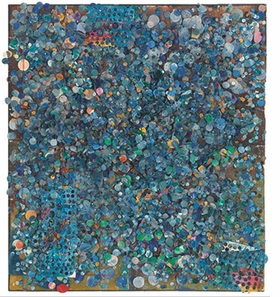 """""""Untitled #98"""" (1977) is reproduced from 'Howardena Pindell: Paintings, 1974-1980.'"""