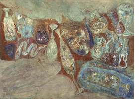 """Hyman Bloom, """"Pompeiian Glass,"""" 1948. Current location unknown. Photograph courtesy of Robert Alimi."""