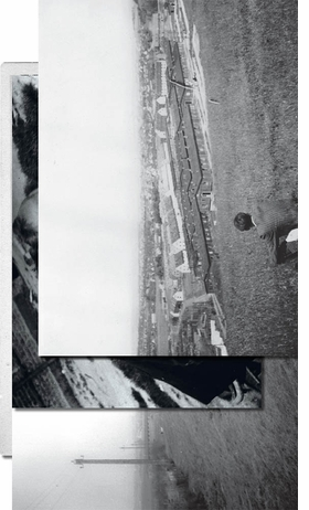 """Photograph of Jonas Mekas, overlooking Mattenberg displaced persons camp, is reproduced from 'I Had Nowhere to Go."""""""