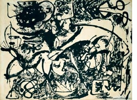 """Featured image, """"Number 8, 1951, Black Flowing,"""" from 1951, is reproduced from <a href=""""poligrafa.html"""">Poligrafa's</a> <a href="""" 9788434312586.html"""">Works, Writings, Interviews</a>."""