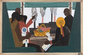 """Featured image is panel 45 of the <I>Migration Series.</I> Captioned, """"They arrived in Pittsburgh, one of the great industrial centers of the North, in large numbers."""" (1941), it is reproduced from 'Jacob Lawrence: The Migration Series.'"""